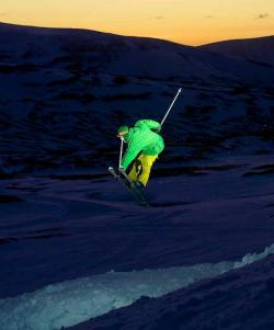 Skiing at night in Scotland