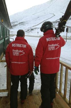 Freshtracks ski and snowboard school red jackets